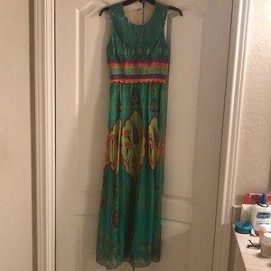 Anthropology silk maxi dress